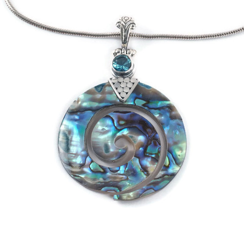 Abalone Pendant With Blue Topaz