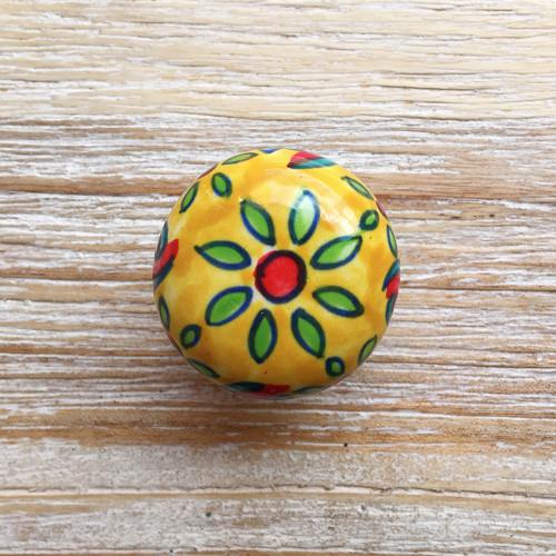 Floral Ceramic Door Knob Cream