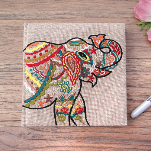 Embroidered Elephant Note Book Stone