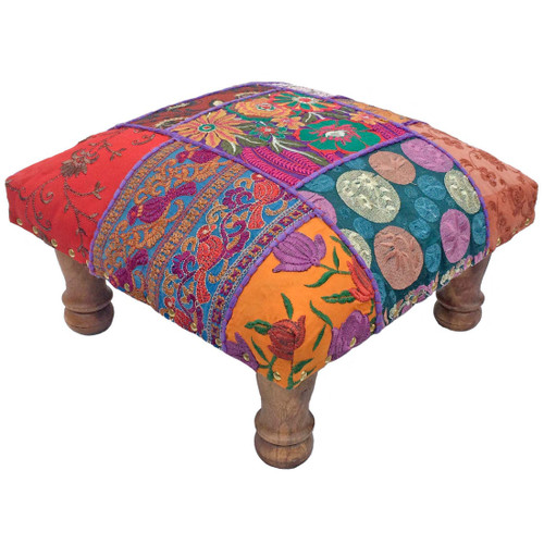 Multi Coloured Patchwork Foot Stool Fair Trade Present