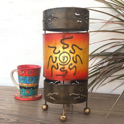Red & Orange Sun Cylinder Lamp