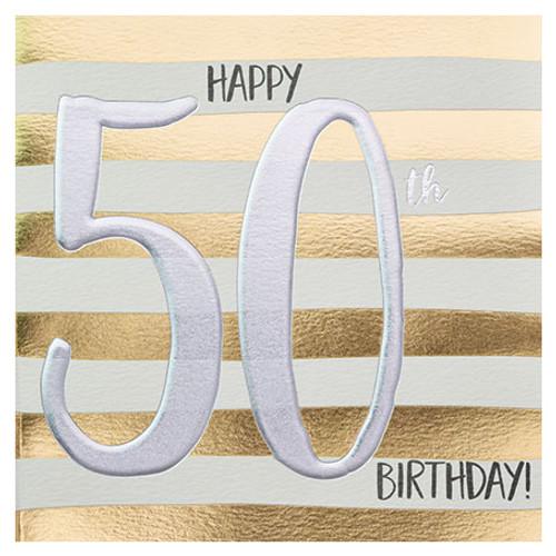 Happy 50th Birthday Card Gold Stripes Wendy Jones Blackett
