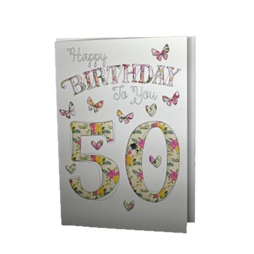 Happy 50th birthday card butterflies wendy jones blackett happy 50th birthday card butterflies bookmarktalkfo Gallery