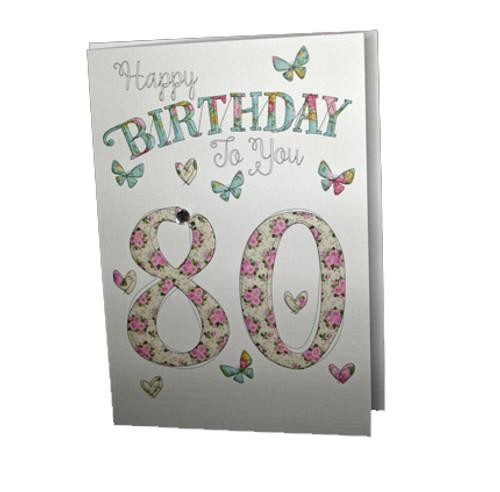 Happy 80th Birthday Card Butterflies Wendy Jones Blackett