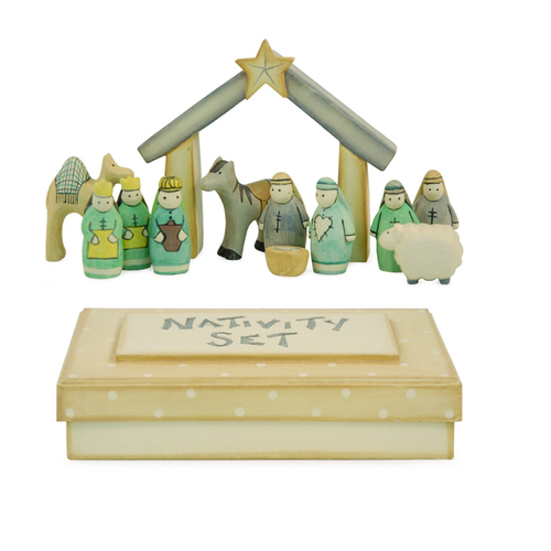 Boxed Wooden Nativity Set