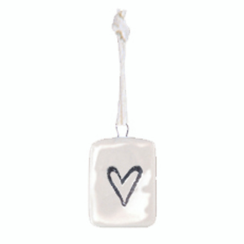 Porcelain Mini Heart Tag