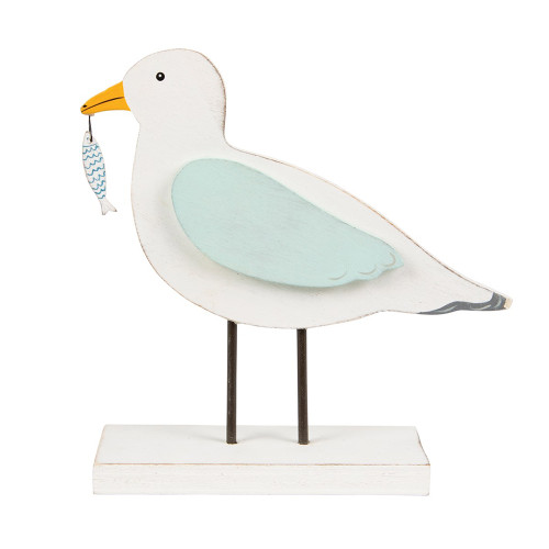 Standing Seagul Wooden Ornament