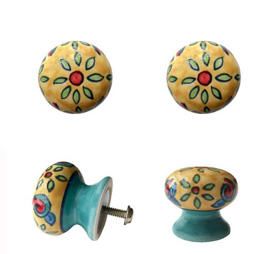 Set of 4 Floral Ceramic Door Knobs Cream