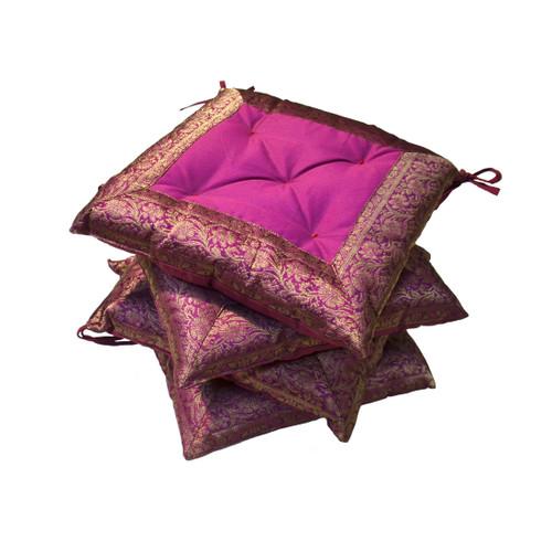 Set of 4 Purple Brocade Seat Pads