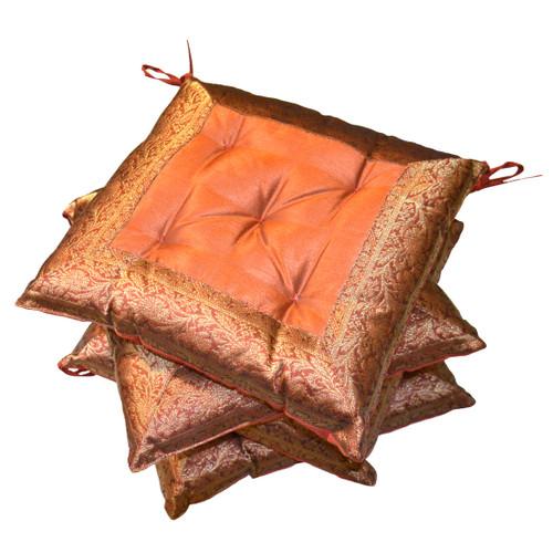 Set of 4 Terracotta Brocade Seat Pads
