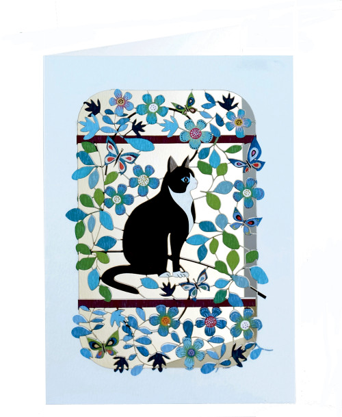 Black and White Cat Laser-Cut Card By Ge Feng