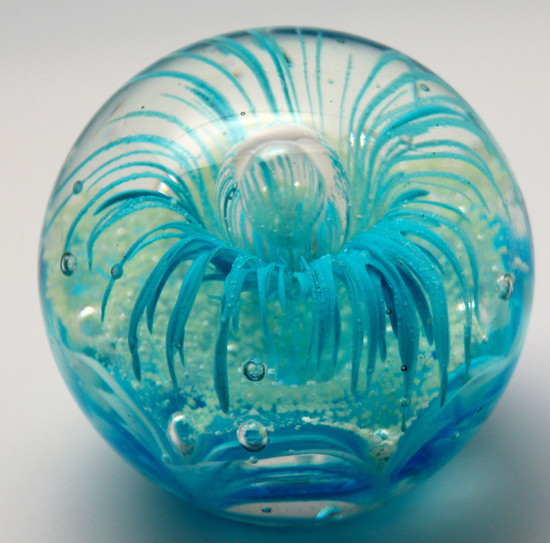 Blue Flower Glass Paperweight - A Customer Favorite for Five Years