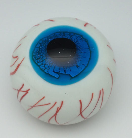 Blue Glass Eyeball/Handcrafted/Glow In The Dark/Blown Glass/Home Decor