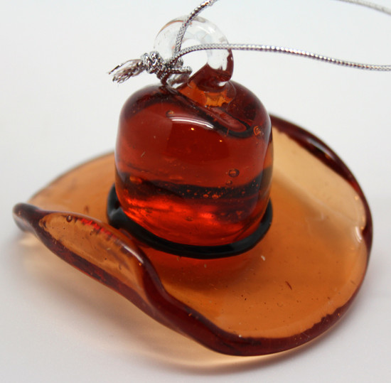 Cowboy Hat Ornament/Blown Glass Art/Home Decor/Handcrafted