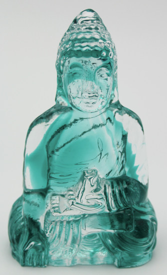 Teal Glass Buddha/Handcrafted/Home Decor