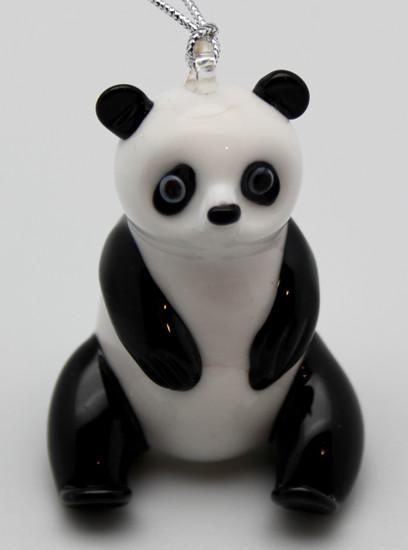 Panda Ornament/Handcrafted/Hand Blown Glass