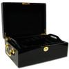 Black mahogany poker chip case - open