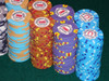 Horseshoe poker chips stacked
