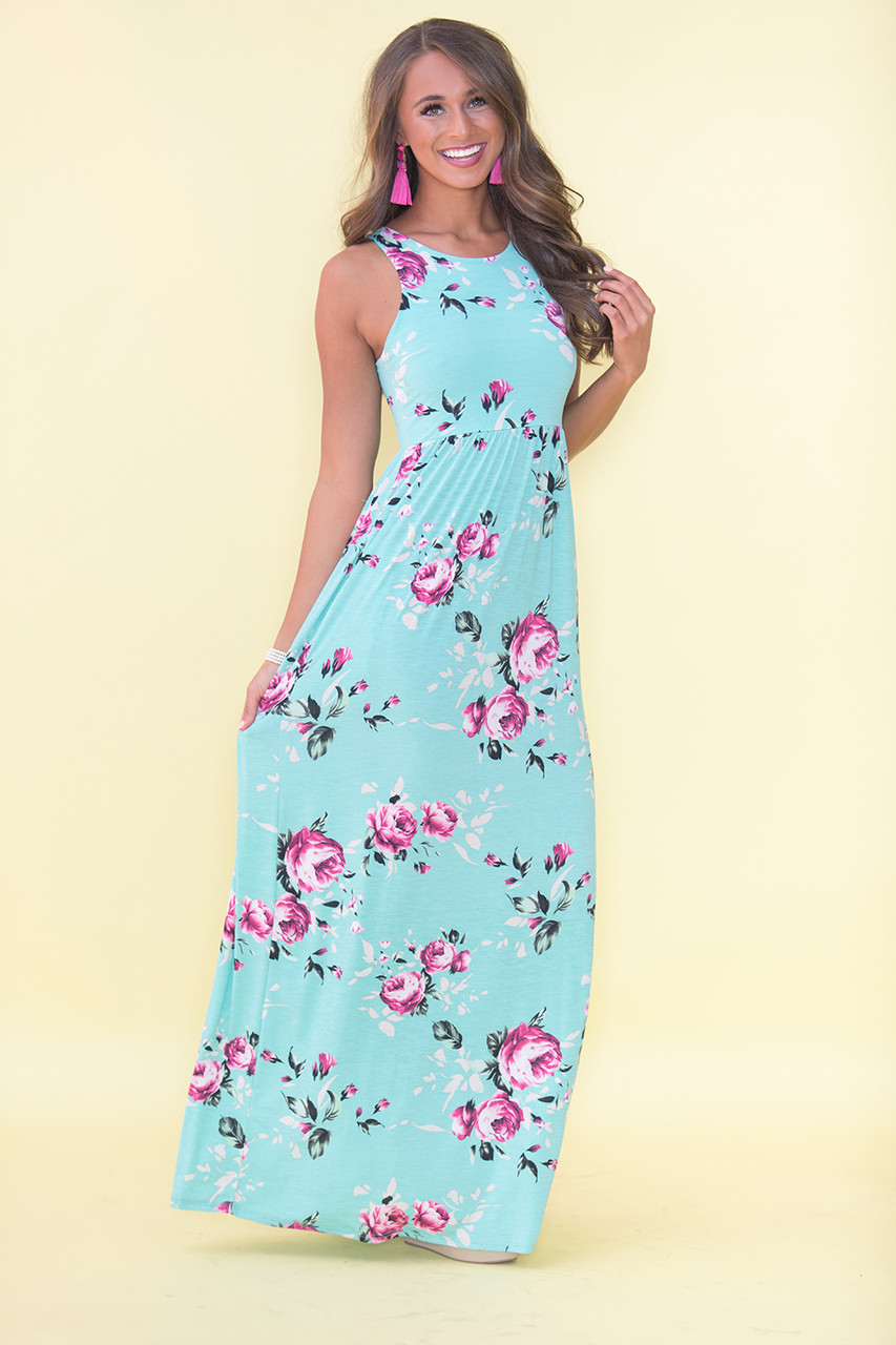 My Only Wish Maxi Dress Mint - The Pink Lily