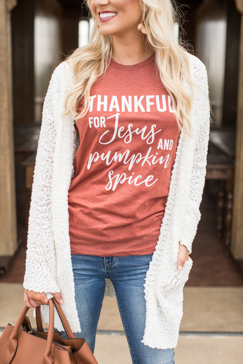 Thankful For Jesus And Pumpkin Spice Graphic Tee - The Pink Lily