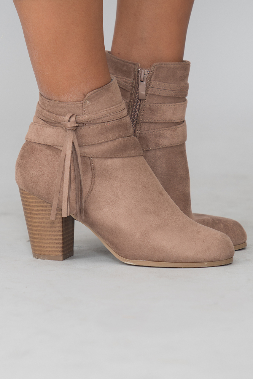 the stephanie booties taupe the pink lily