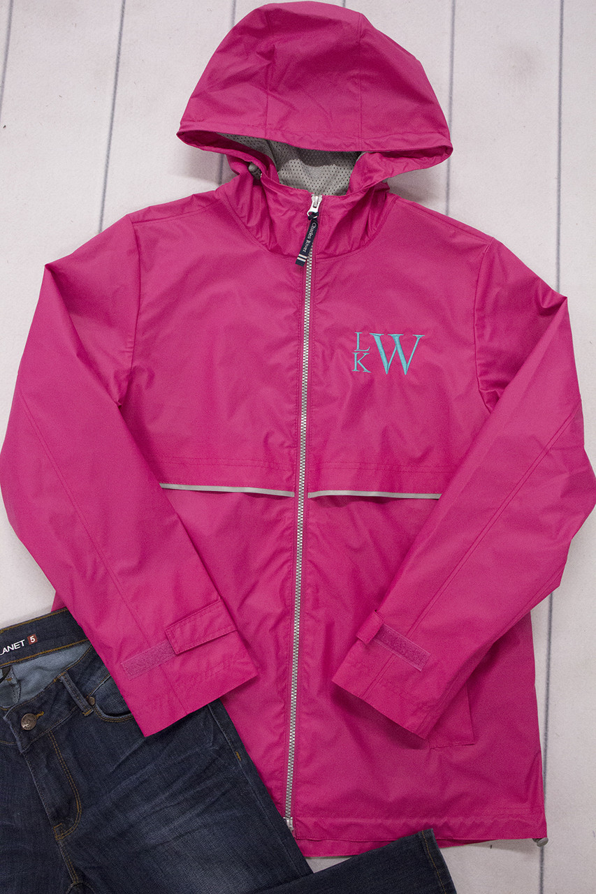 personalized new englander rain jacket hot pink