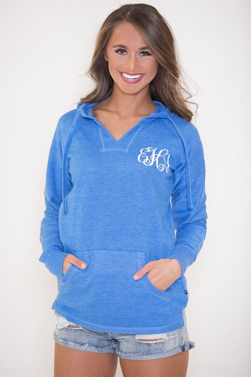 True Colors Vinyl Monogram Hoodie Royal Blue The Pink Lily