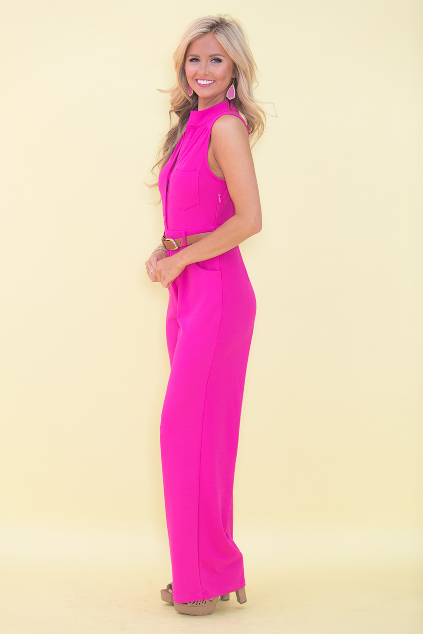 flaunt your style belted jumpsuit magenta