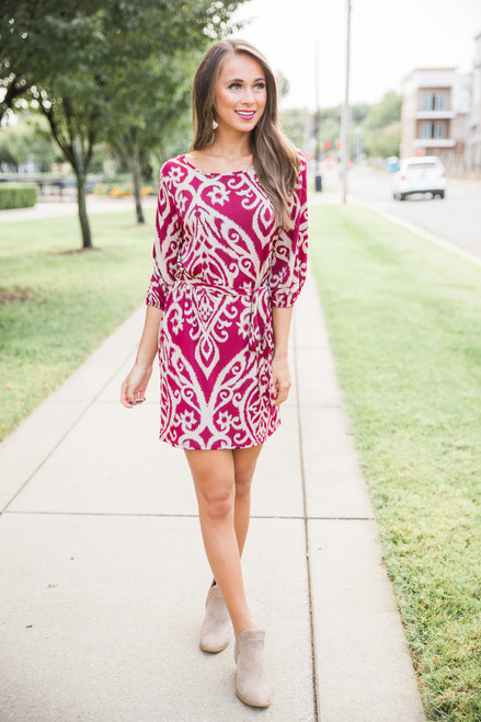 Delight My Heart Damask Dress Burgundy The Pink Lily