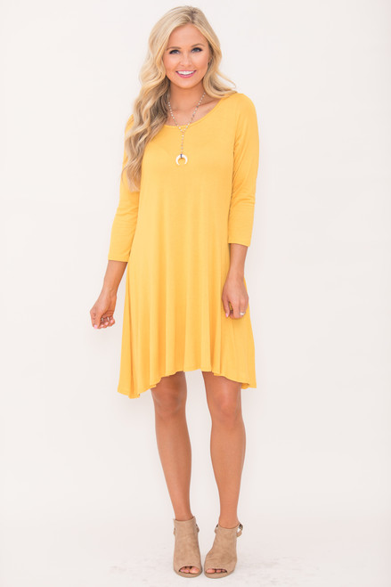 Casual For Fall Dress Mustard The Pink Lily