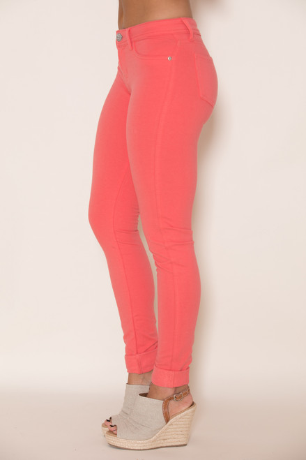 bright coral skinny jeggings