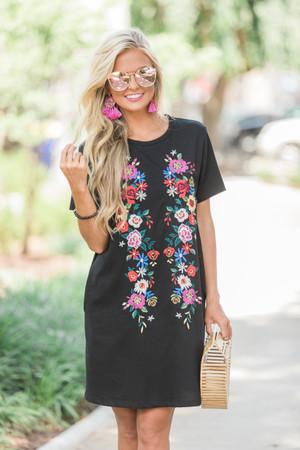 Boutique floral dress shop floral dresses pink lily create a little magic dress black mightylinksfo