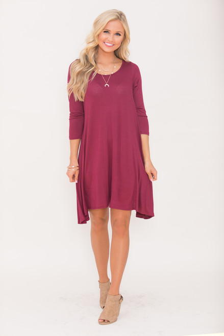 Casual For Fall Dress Burgundy The Pink Lily