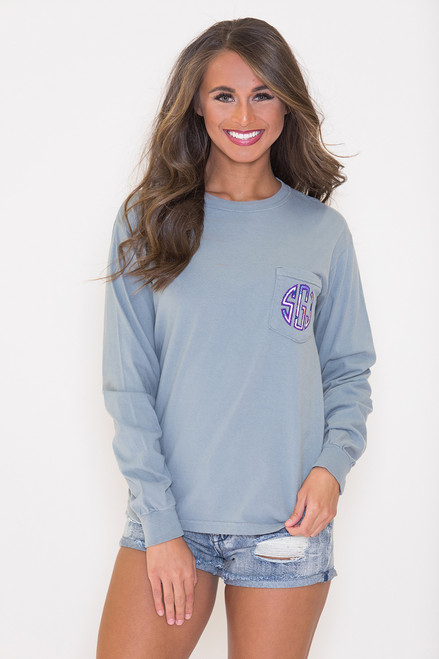 comfort colors personalized long sleeve pocket tee grey
