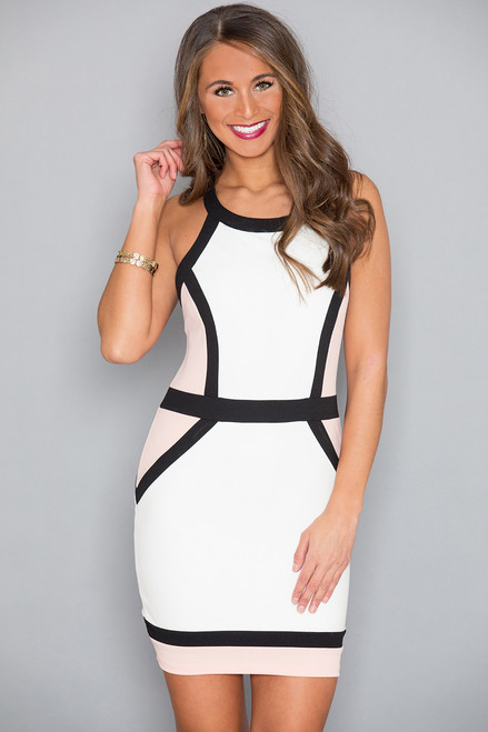 Spice Things Up Colorblock Dress Ivory The Pink Lily