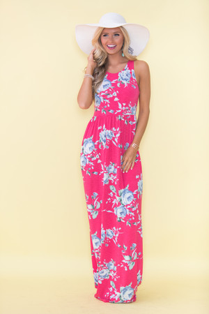 Boutique floral dress shop floral dresses pink lily my only wish maxi dress hot pink mightylinksfo