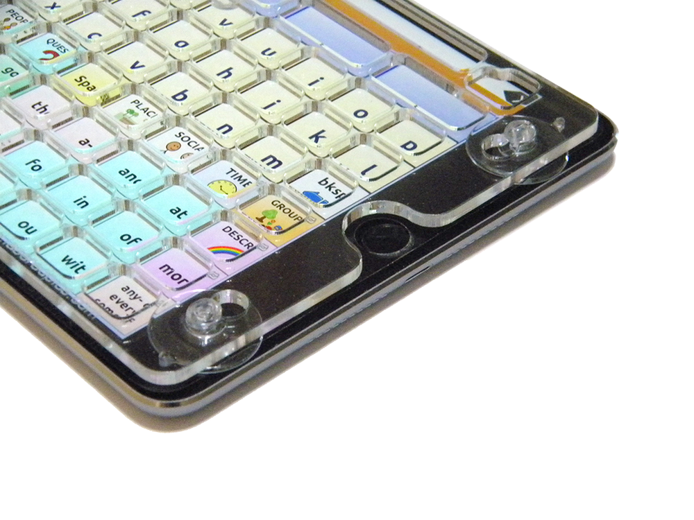 TouchChat keyguard on an iPad Mini with suction cups