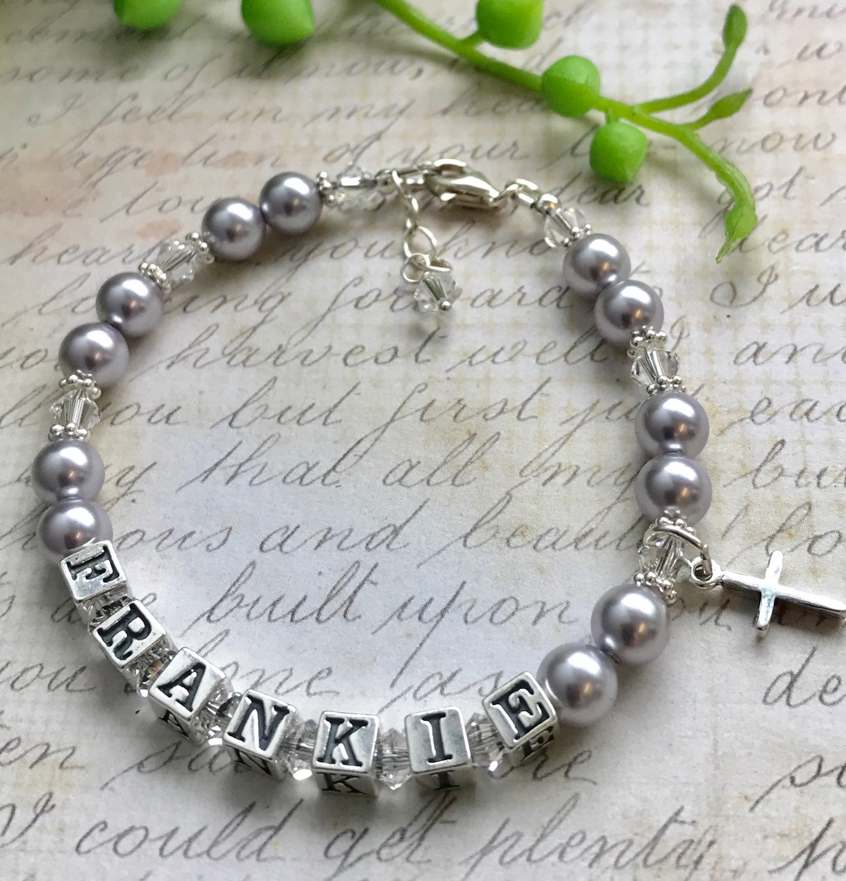 bracelet tag pearl baby silver thumb collections cross sterling girls free white baptism adjustable ideas