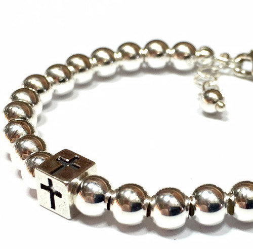 saint in metallic gallery jewelry product bracelet baptism normal gold lyst laurent