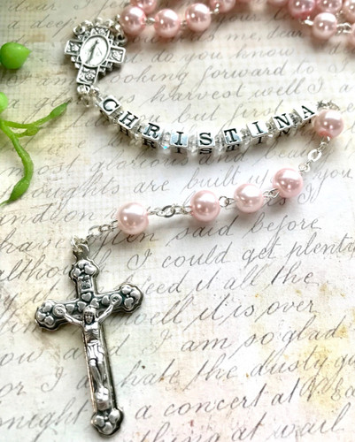 Pink Glass Pearl Personalised Rosary Beads