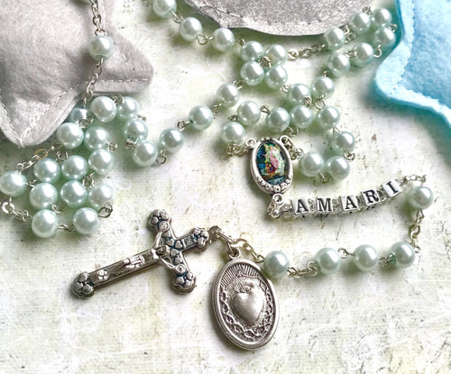 Blue Glass Pearl Personalised Rosary Beads