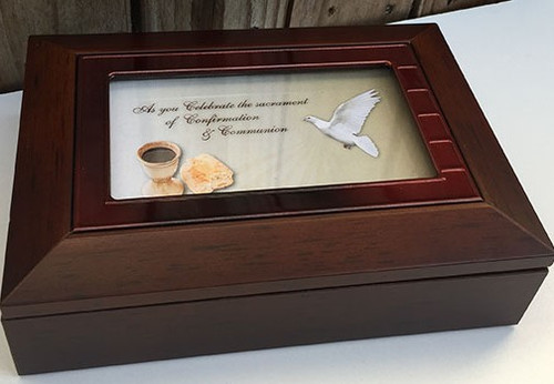 Confirmation Keepsake Box - Brown