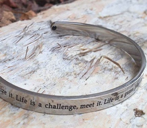 Stainless Steel 'Life' Cuff Bangle