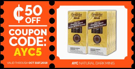 oct18-ayc-granadier-natural-dark-minis-online-cigar-deal-discount-coupon-code.png