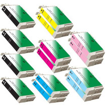 Compatible EPSON T079 STYLUS PHOTO 1400 SET 14 INK CARTRIDGES: 4 BLACK/2 EACH