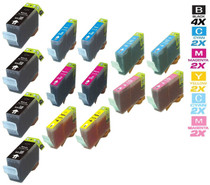 Compatible Canon BCI-3e Ink Cartridges 4 Black and 2xCMY/ 2XPC/ PM - 14 Color Set