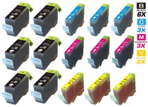 Compatible Canon BCI-3e Ink Cartridges 6 Black and 3xCMY - 15 Color Set