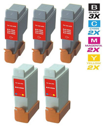 Compatible Canon BCI-21 & 24 Premium Quality Ink Cartridges Remanufactured 3 Black and 2 Tri Color - 5 Pack