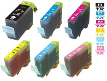 Compatible Canon BCI-3e Premium Quality Ink Cartridges KCMY/ PC/ PM - 6 Color Set