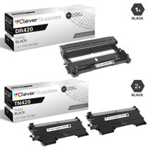 Compatible Brother DR420-TN420 Black Drum and 2 Toner Cartridges Set